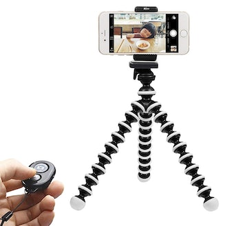 WIYFA Phone Tripod, Portable and Adjustable Tripod Stand Holder with Bluetooth Remote for iPhone
