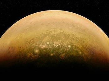 Image of Jupiter's swirling atmosphere created by a citizen scientist and Juno's JunoCam instrument....
