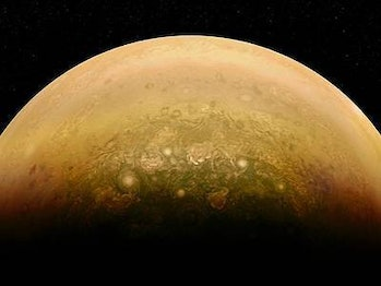 Image of Jupiter's swirling atmosphere created by a citizen scientist and Juno's JunoCam instrument.