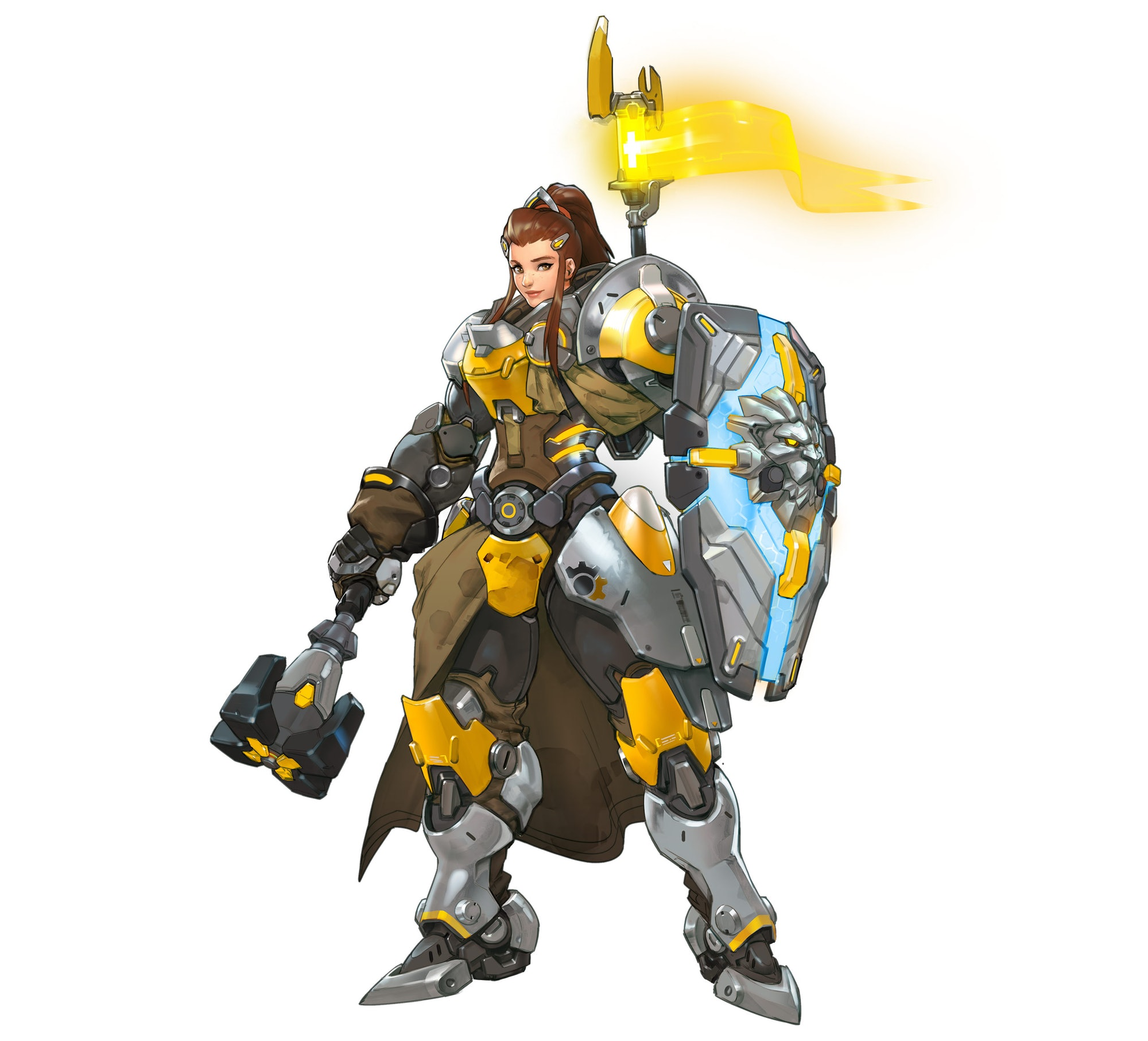 Brigitte is a kind of frontline brawler with Defense and Support perks.