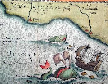 """Decorative sea monsters in """"Theatrum Orbis Terrarum"""""""
