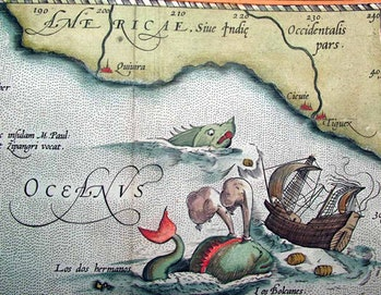 "Decorative sea monsters in ""Theatrum Orbis Terrarum"""