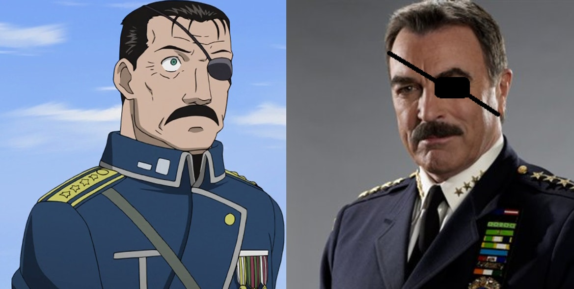 It might be hard to tell which is which, but on the left is Fuhrer Bradley from 'Fullmetal Alchemist' and on the right is actor Tom Selleck.