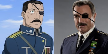 It might be hard to tell which is which, but on the left is Fuhrer Bradleyfrom 'Fullmetal Alchemist' and on the right is actor Tom Selleck.
