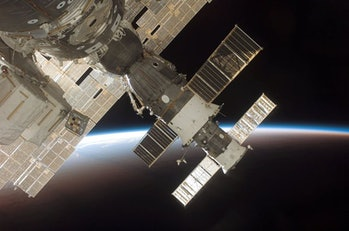 These days astronauts travel to the International Space Station via the Russian Soyuz spacecraft.