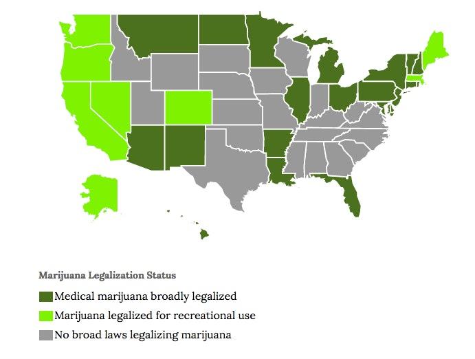 marijuana legal which states map