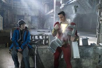 Jack Dylan Grazer and Zachary Levi in Warner Bros. 'Shazam!' (2019)