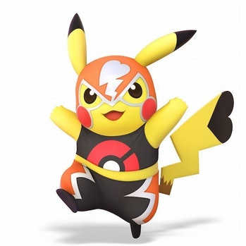 Pikachu goes lucha in *Smash Bros. Ultimate*