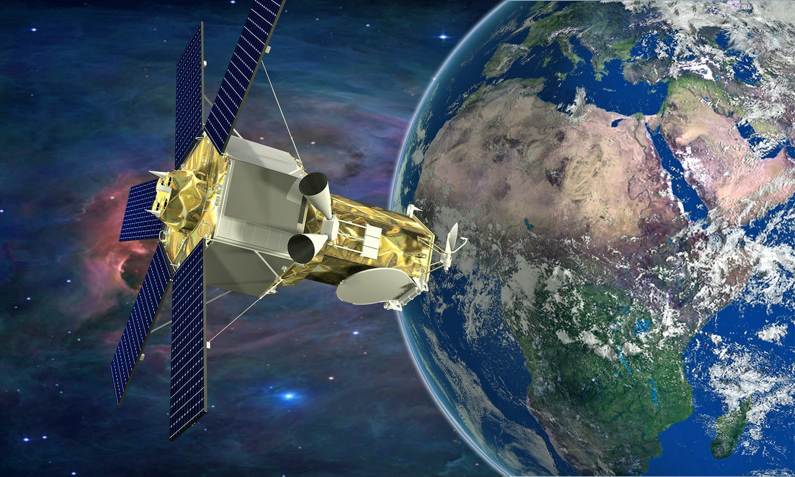 Artist rendition of the WorldView-4 satellite looking at the Earth.
