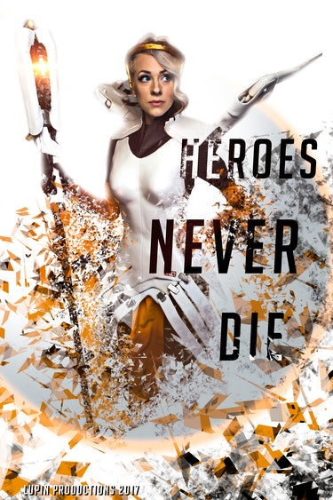 "Promotional poster for ""Heroes Never Die"" puts Mercy's full gear on display."