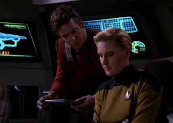 Tasha Yar, getting ready to go back in time AND cross dimensions in 'Yesterday's Enterprise.""