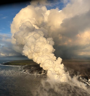 Plumes from lava's entry into the ocean - Kilauea Volcano