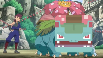 Nihei's Venusaur from the Pokémon anime with a 'Pokémon Quest' Venusaur face.