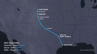 Cheyenne Houston Hyperloop Route