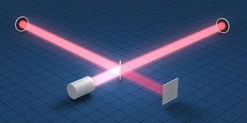 An illustration depicting LIGO's laser interferometer setup.