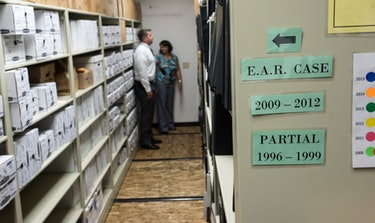 FBI agents in an evidence room during an investigation into the decades-old East Area Rapist/Golden ...