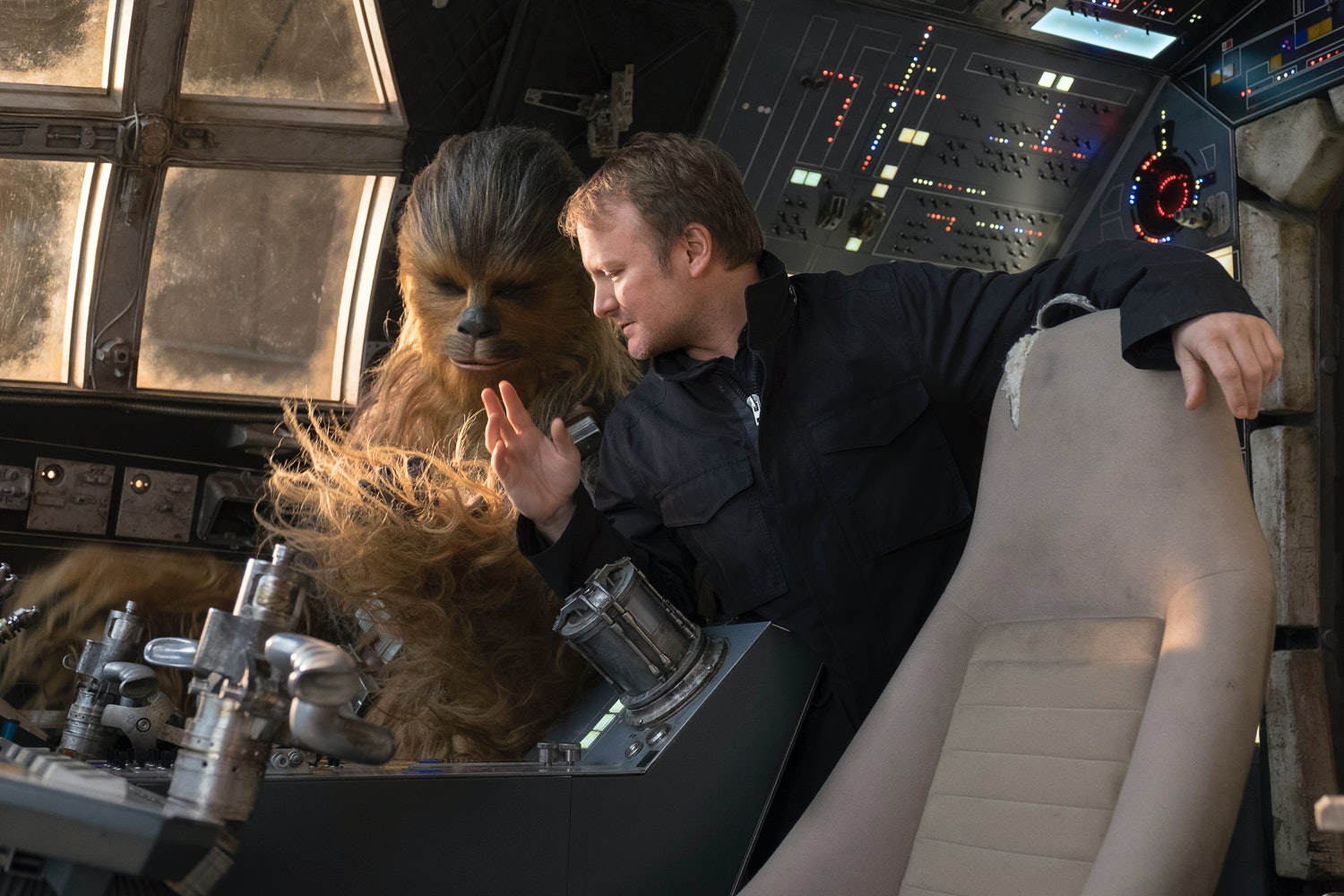 Rian Johnson chats with Chewbacca.