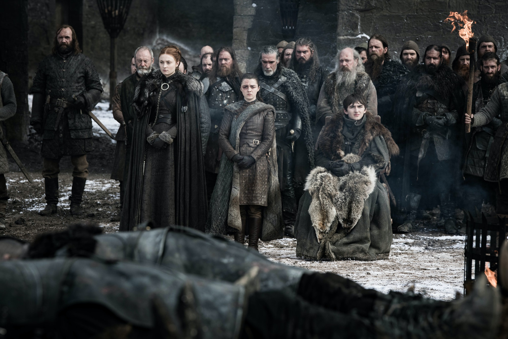 In this photo from Episode 4, Arya Stark sports injuries from the Battle of Winterfell.