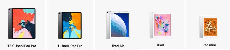 ipad line up apple
