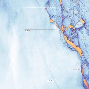 nasa Antarctica satellite thermal iceberg