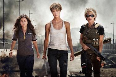 From left to right: Natalia Reyes, Mackenzie Davis, and Linda Hamilton in 'Terminator: Dark Fate'.