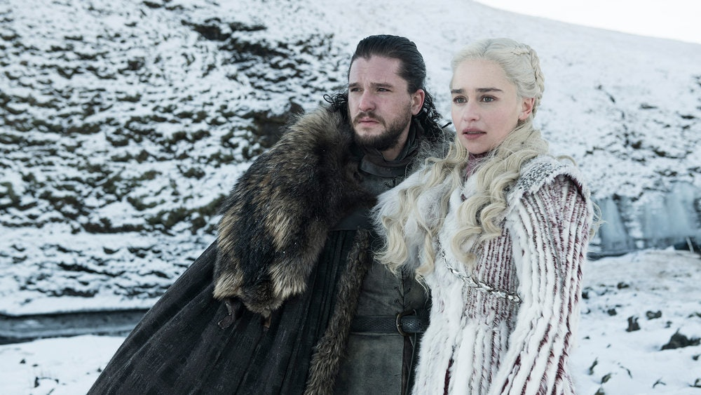 Jon Snow (Kit Harington) and Daenerys (Emilia Clarke) have a moment together in the wintry North on 'Game of Thrones'