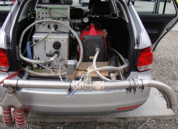 exhaust testing setup in a VW