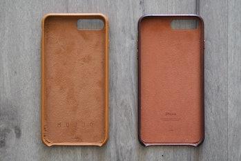 Mujjo case on the left versus Apple leather case.