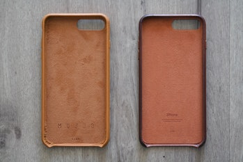 Mujjo case on the left versus Apple leather case.