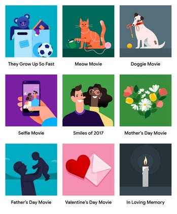 All of the video themes available on Google Photos.