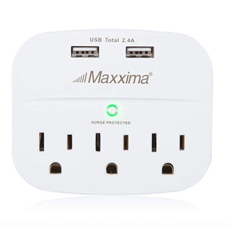 Maxxima 3 Outlet Dual USB Grounded Adaptor Plug
