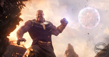 Thanos uses the combined power of the Space and Power stones to throw a moon.