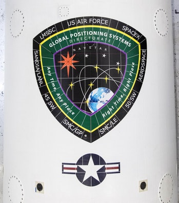 The GPS logo on the rocket.