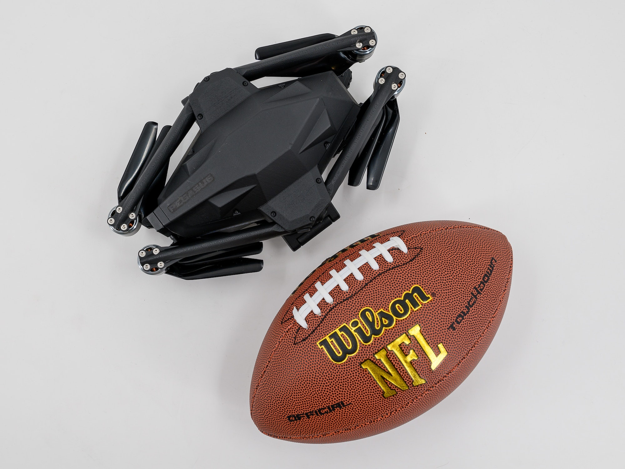 The Pegasus Mini is about the same size as an American football.