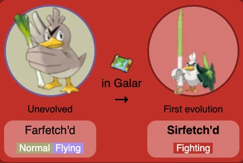 farfetch'd sirfetch'd pokemon evolution