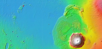 The red dot in the top left shows the first location under consideration, with Olympus Mons in the l...
