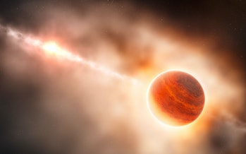 Artist impression of a gas giant forming around the star HD 100546.