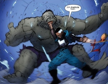 Blue Marvel punches The Hulk