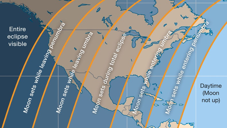 2018 Total Lunar Eclipse Map