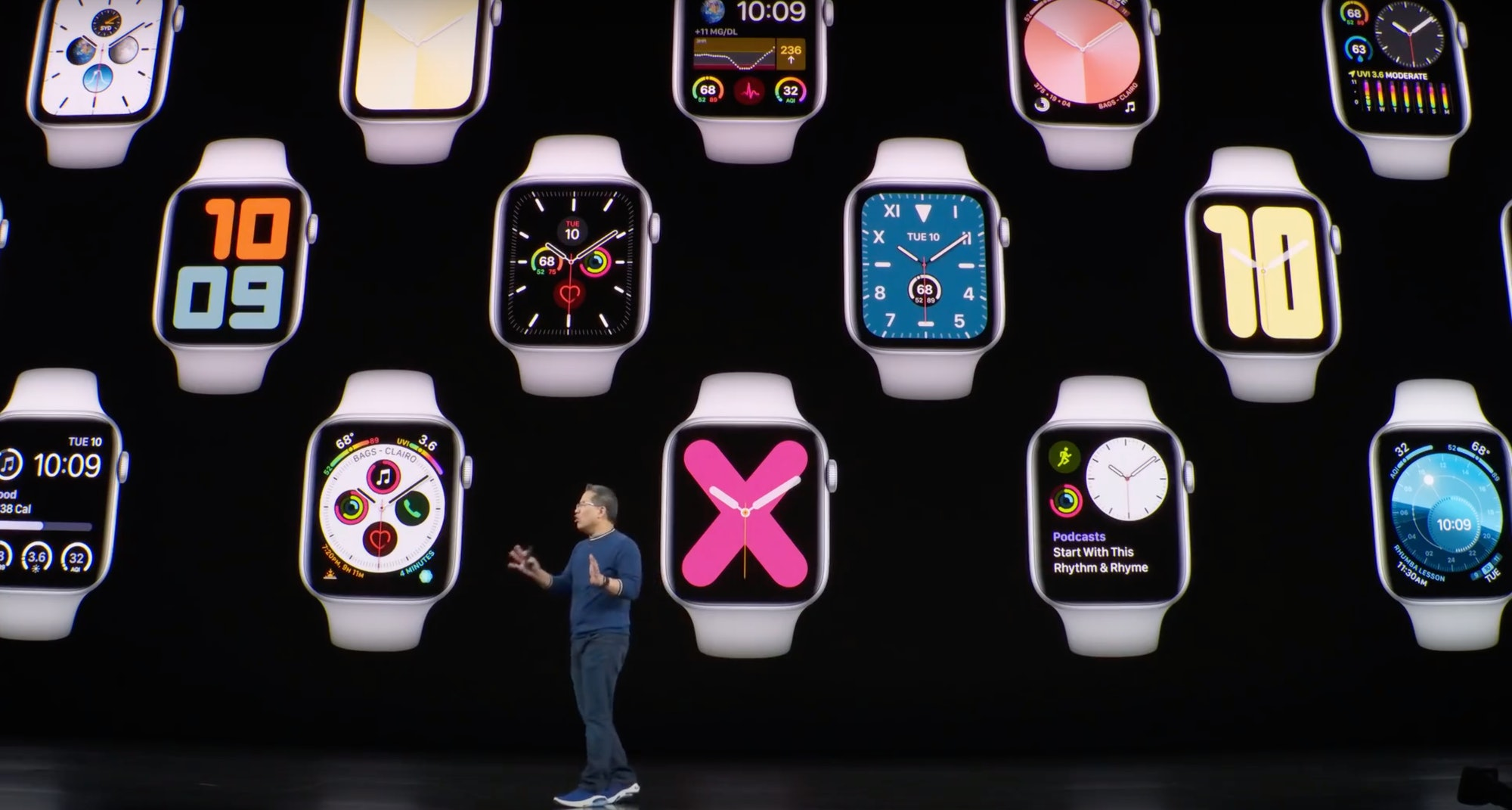 The watch faces in their active state.