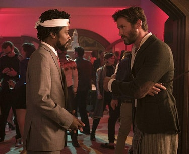 "Lakeith Stanfield as Cassius ""Cash"" Green and Armie Hammer as Steve Lift in 'Sorry to Bother You'."