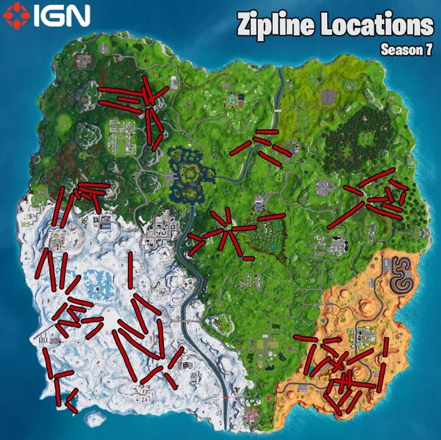 IGN's handy zipline location map will help you complete this 'Fortnite' challenge.