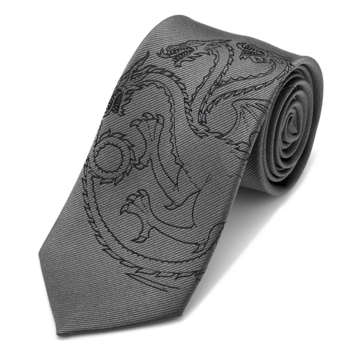 Game of Thrones House Targaryen Grey Silk Tie