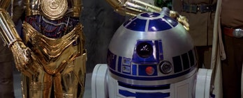 C-3PO patting R2-D2 on the head after he got wiggly in 'A New Hope'