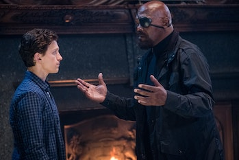 Tom Holland and Samuel L. Jackson in 'Spider-Man: Far From Home'