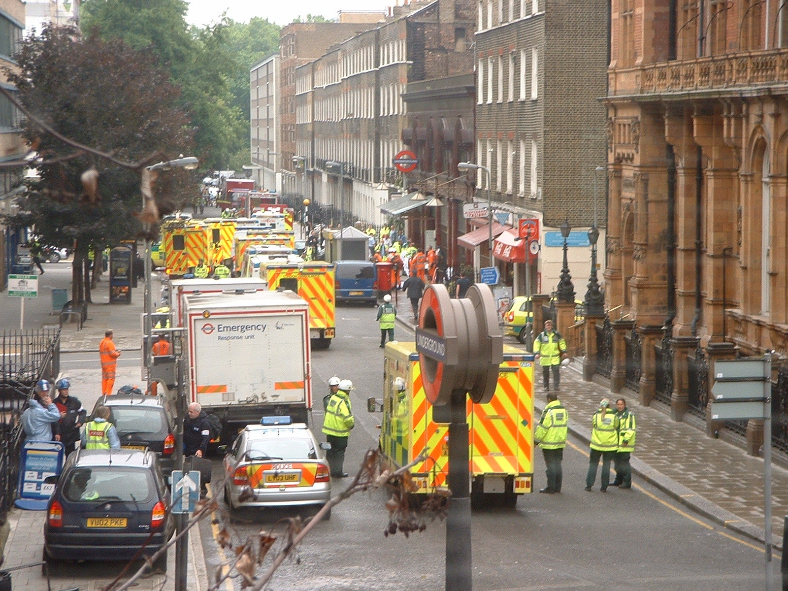 Emergency services outside Russell Square tube station.