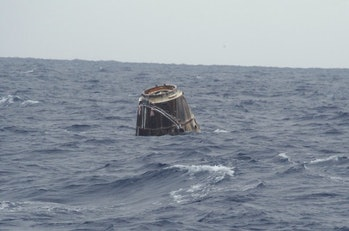The SpaceX Dragon in the Pacific Ocean.