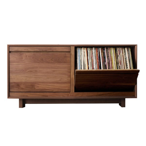 A storage cabinet with records inside.