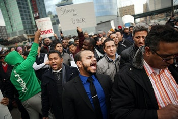NEW YORK, NY - FEBRUARY 01: Uber drivers protest the company's recent fare cuts and go on strike in ...
