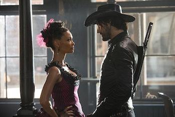 Thandie Newton and Rodrigo Santoro in 'Westworld'